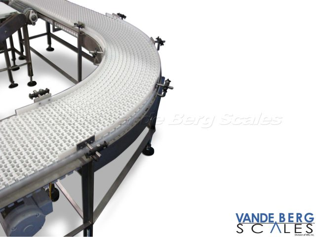 Curved conveyor showing foot bracing and side rails.