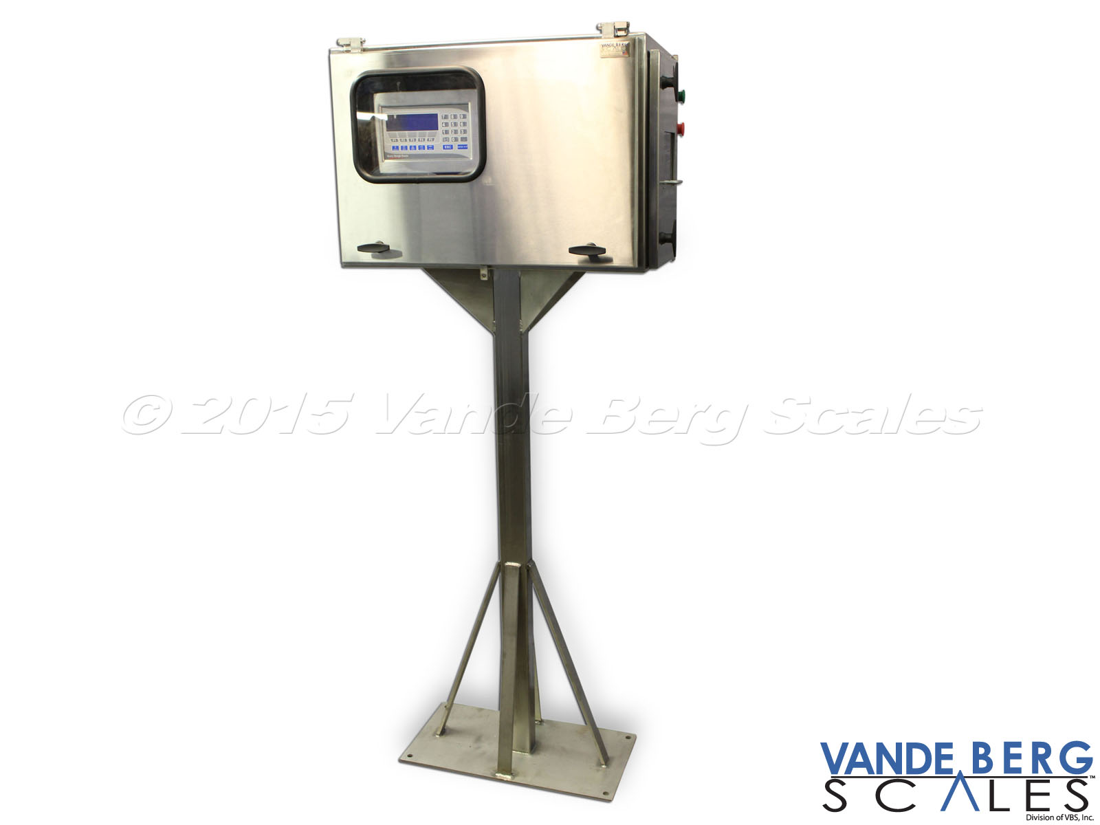 Stainless Steel stand supporting a printer kiosk using an environmentally rated enclosure.