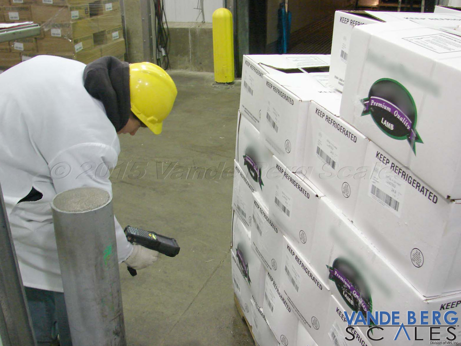 Operator scanning offal box barcodes
