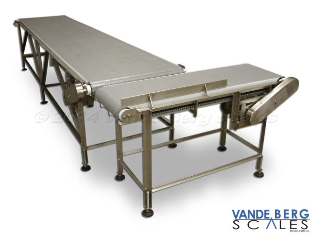 Box conveyors with flat-top belt provide easy right angle transfers.