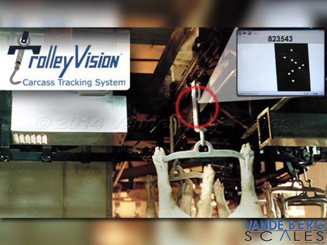 Trolley Vision Carcass Tracking System with close-up of trolley strap unique ID