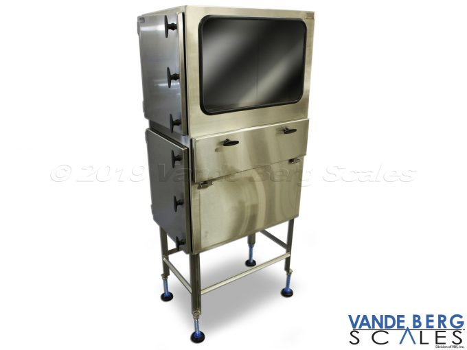 Stainless steel enclosure with view window for monitor and bottom enclosure for printer.