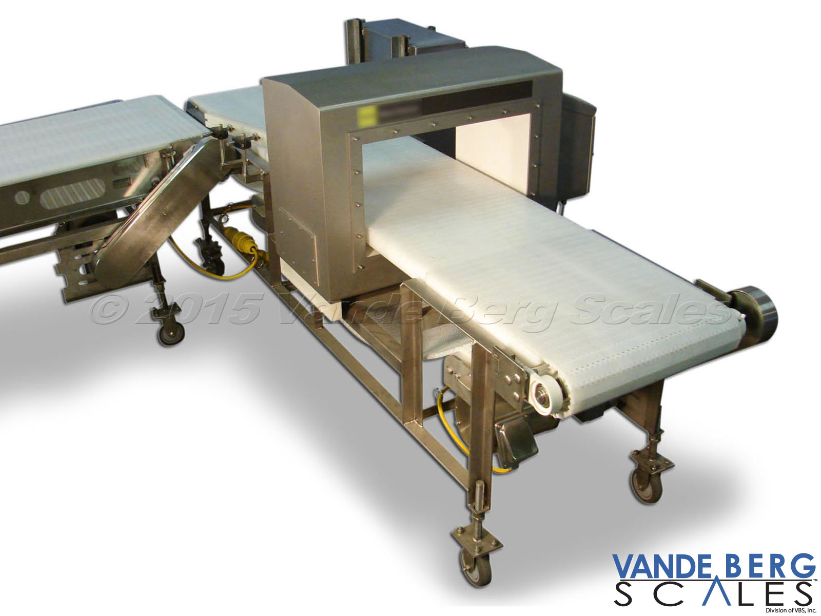 High-profile metal detector with wide conveyor belt - useful for scanning large parcels.
