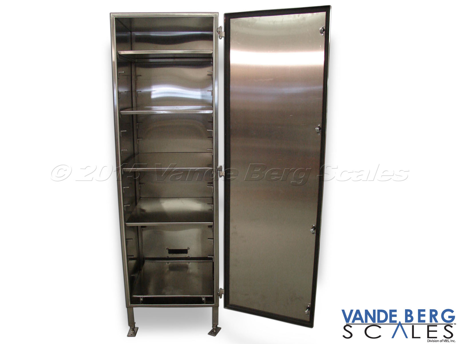 Tall washdown rated stainless steel cabinet with adjustable shelves and leveling feet.
