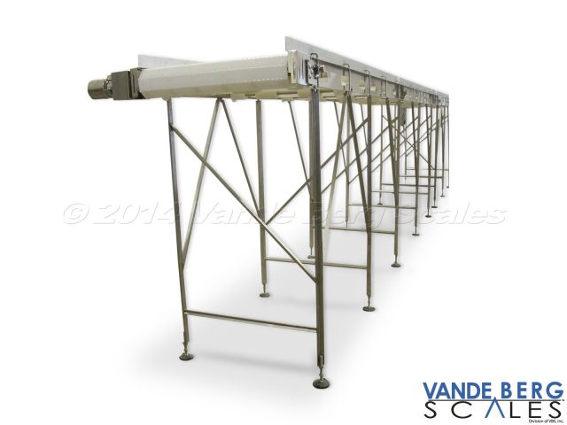 Food Grade Conveyor - This easy to clean conveyor minimizes standing water by welding all frame bracing at an angle.