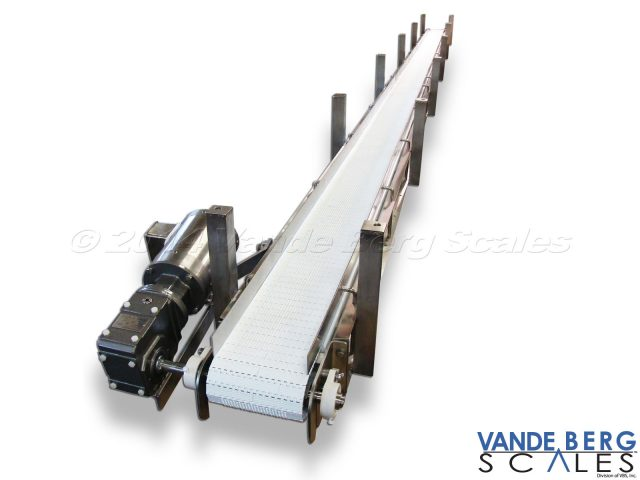 Ceiling-mounted washdown conveyor with stainless steel motor