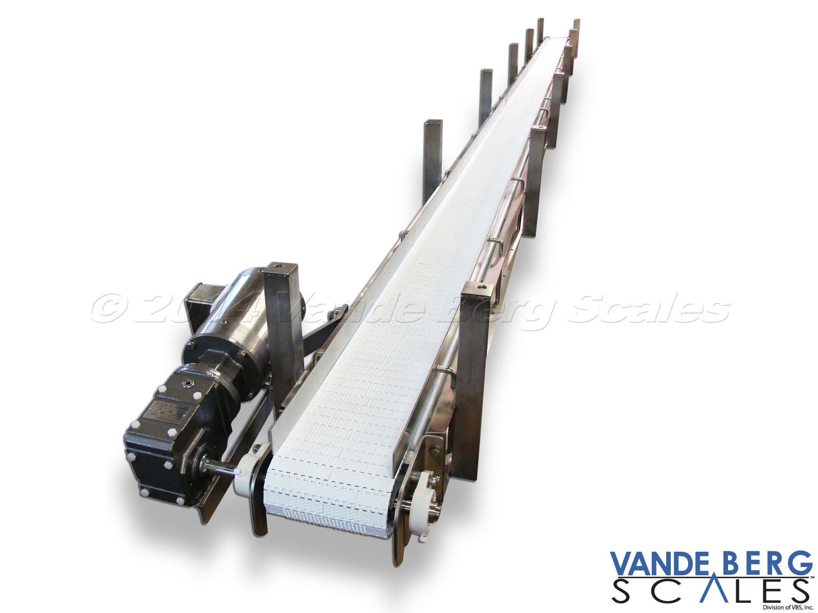 Ceiling-hung washdown conveyor with stainless steel motor