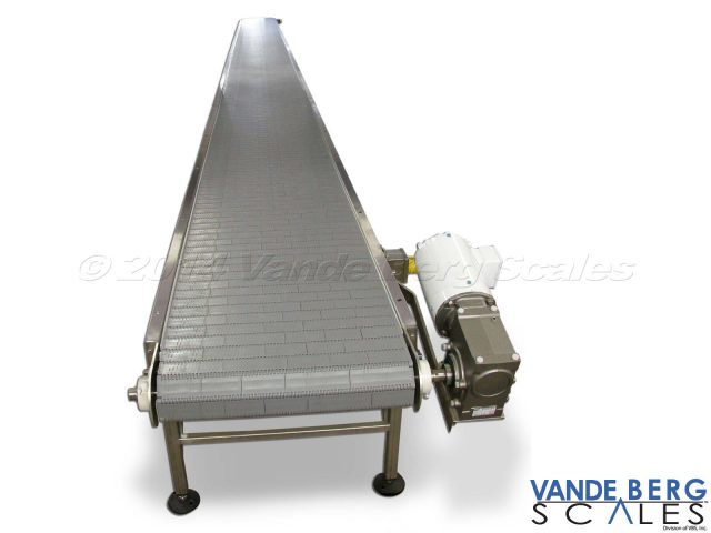 Box conveyor with flat top belting & heavy-duty motor enable long conveyor lengths