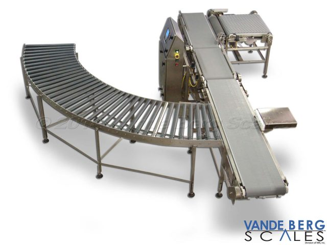 Checkweigher with Divert and Gravity Roller Conveyor