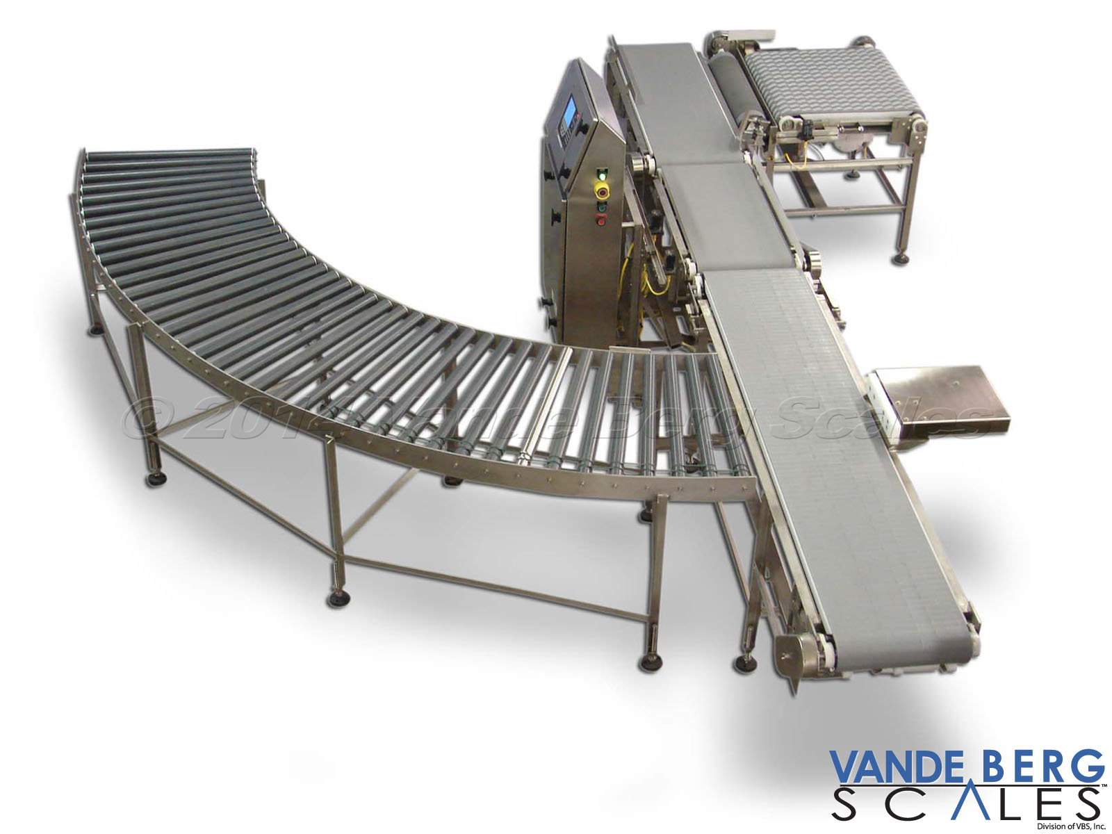 Box conveyor system with checkweigher, divert and gravity roller conveyor