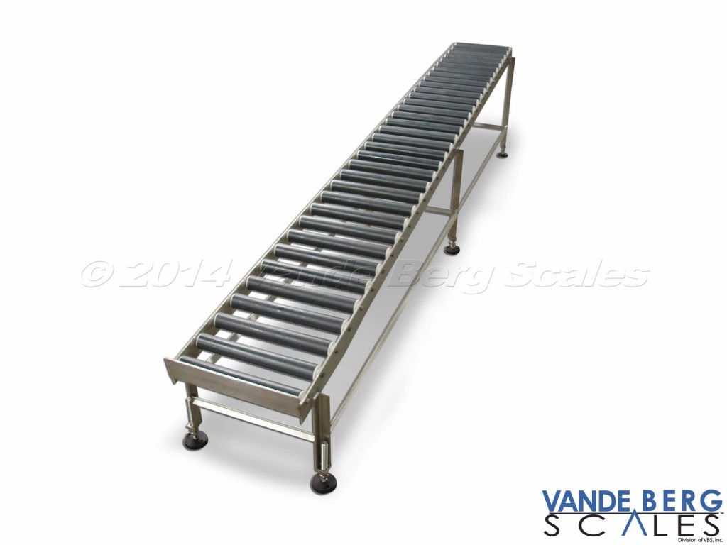 Gravity conveyor permits boxes, or cases, to easily slide to the end with no external power required.