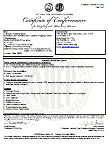 Checkweigher NTEP Approval Certificate