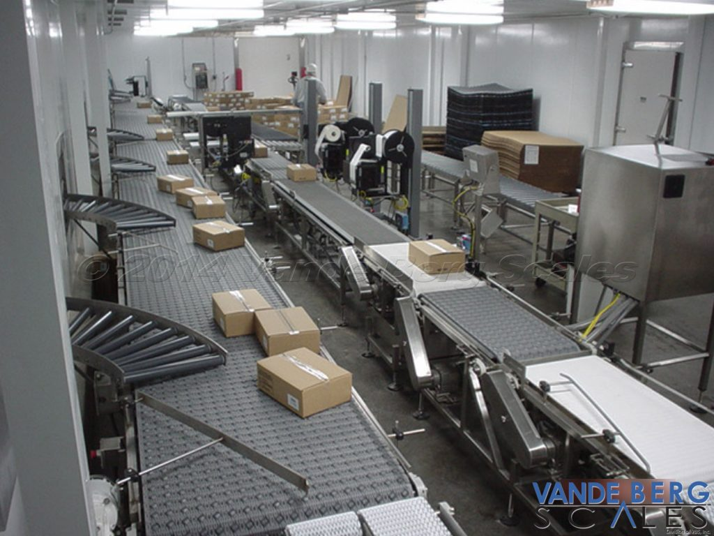 The center of the image shows two automatic box labelers in a warehousing facility.