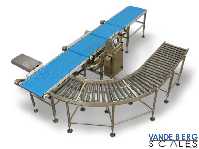 Conveyor Scale with Infeed & Outfeed Conveyor. Reject will divert out of weight product to the roller conveyor for rework.