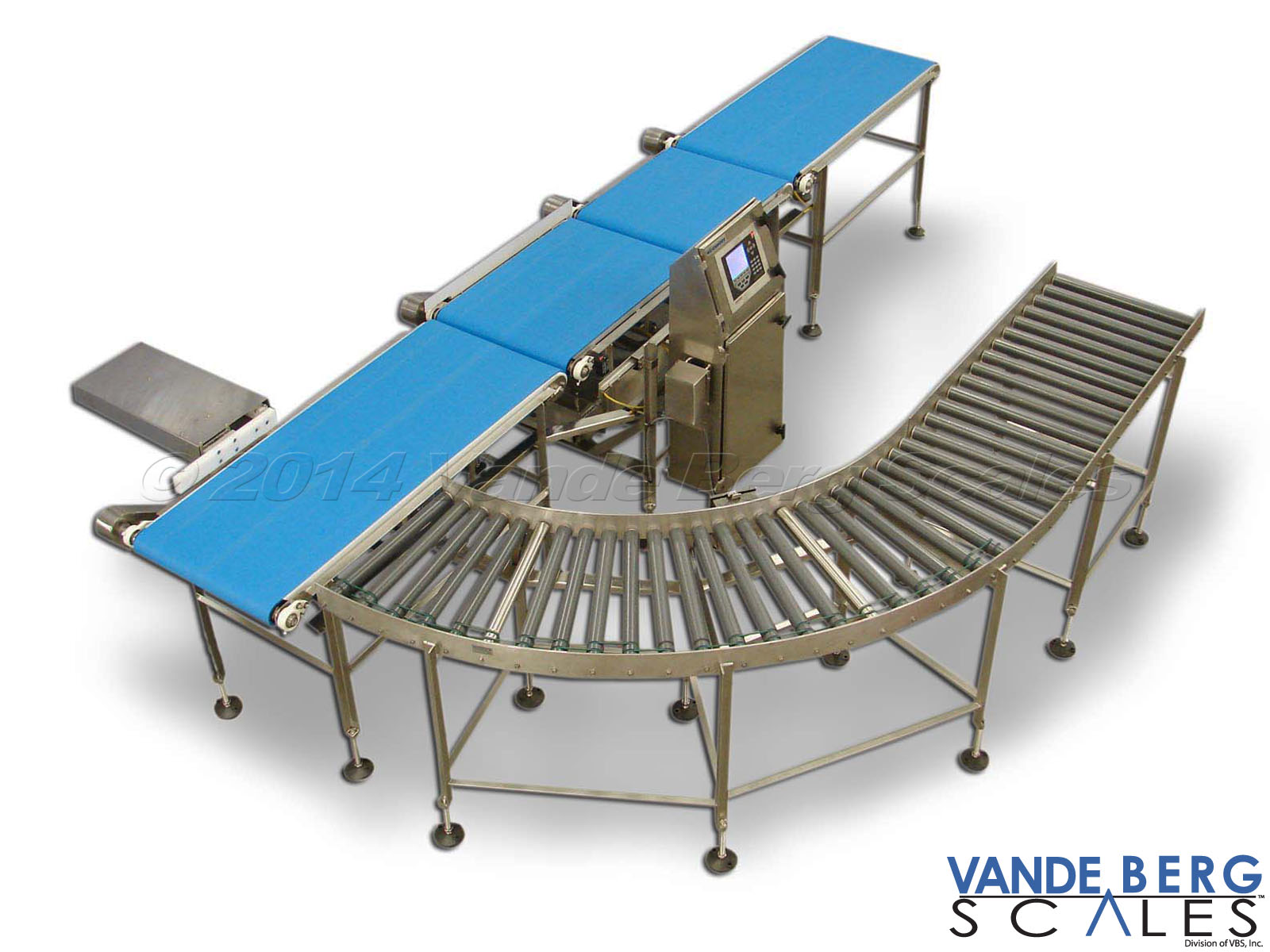 Conveyor Scale with Infeed & Outfeed Conveyor - Divert will reject out-of-tolerance product to the roller conveyor for rework.