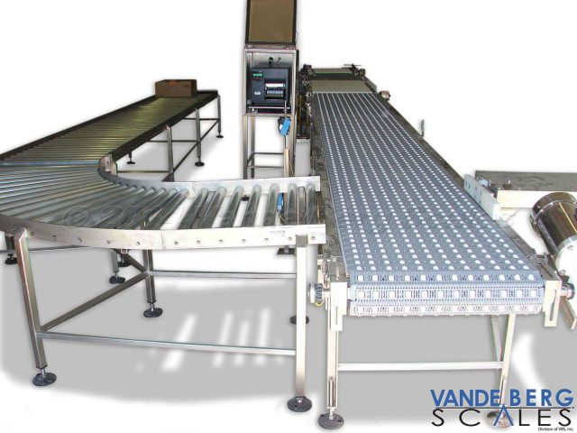 Roller conveyor accepts packages from a divert and permits package momentum to carry it to the end for rework, where it can be put back into the conveyor line.