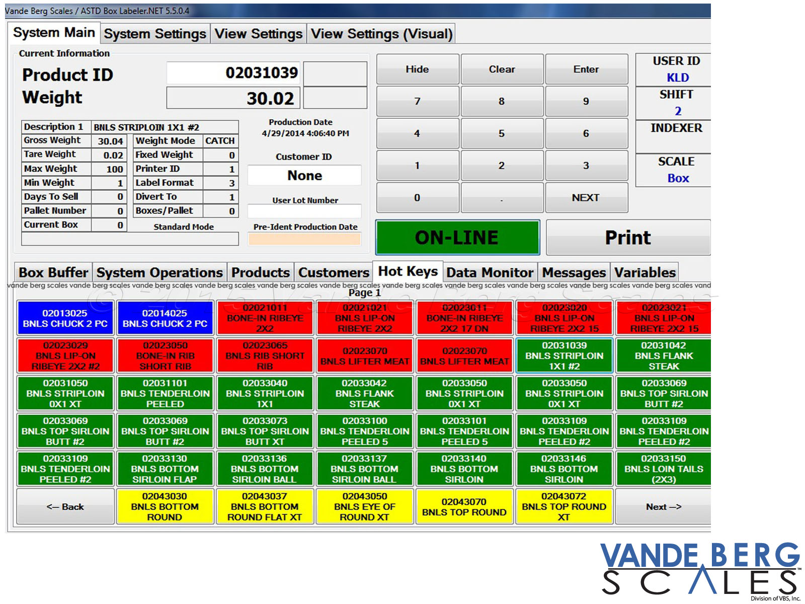 Example of software interface with colored hot-keys for quick label selection and printing.