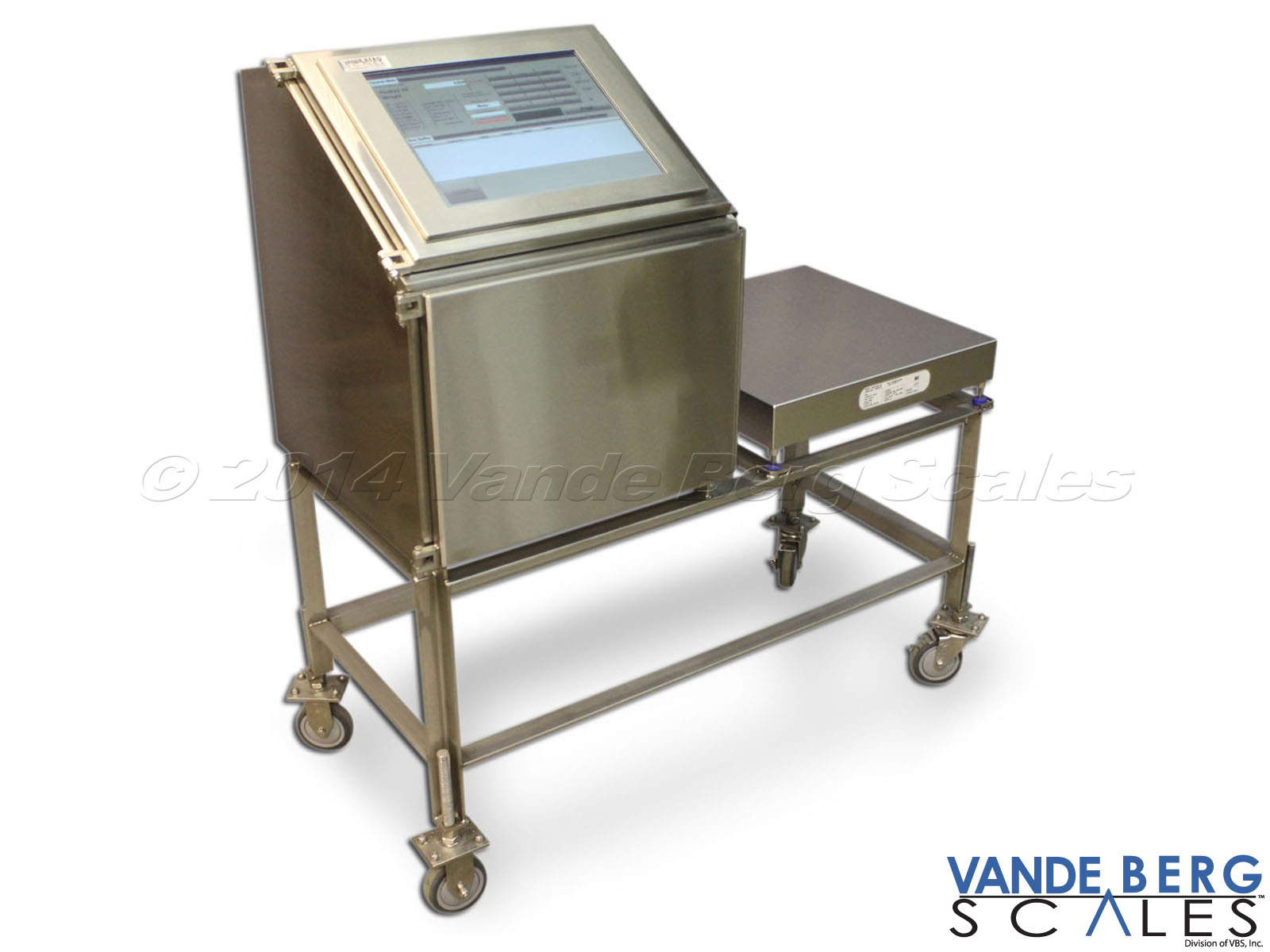 Mobile Cart used for a manual box labeling with HMI Interface and scale. Includes lockable wheel casters.