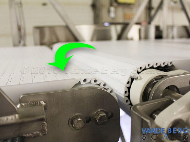 Sorting conveyor systems feature a slight cascading design which permits better product transfer to the next section.