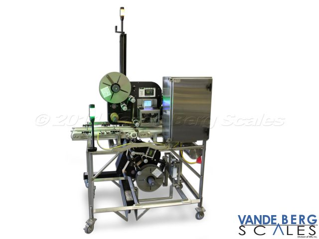 Mobile Top & Bottom Labeler with alarm light, control panel and product guides