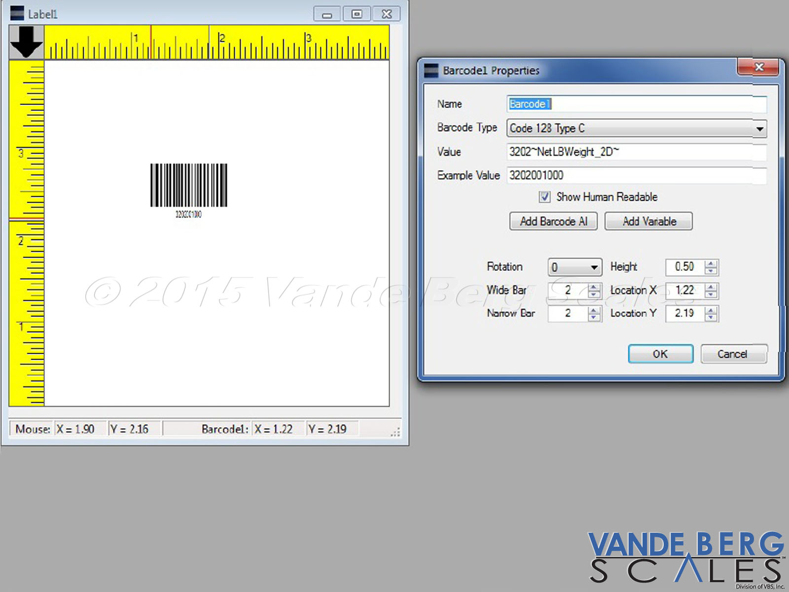 Easily insert several types of barcodes into the label. The barcode can be placed in either ladder or picket fence orientation.