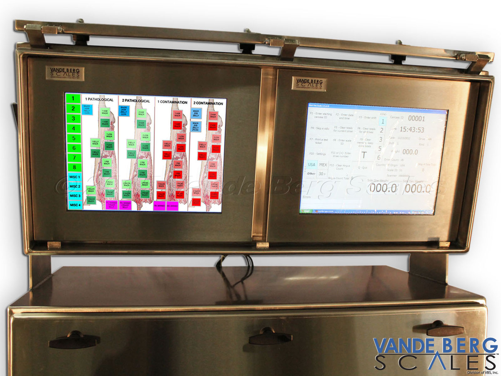 Carcass grading software easily interfaces with our Washdown Rated Touchscreen HMI.