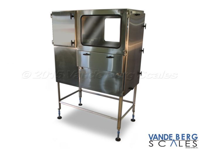 Large enclosure with view window and side access door. Stand is adjustable for uneven floors.
