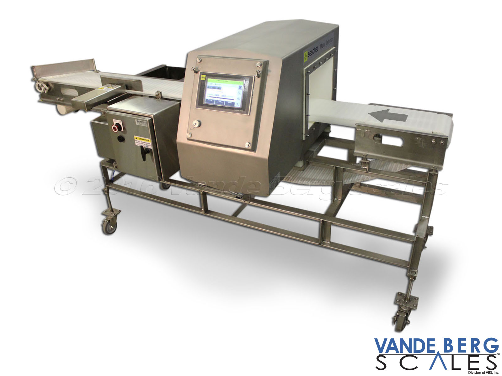 Metal Detector with metal-free zone and easy-to-clean stainless steel frame conveyor.