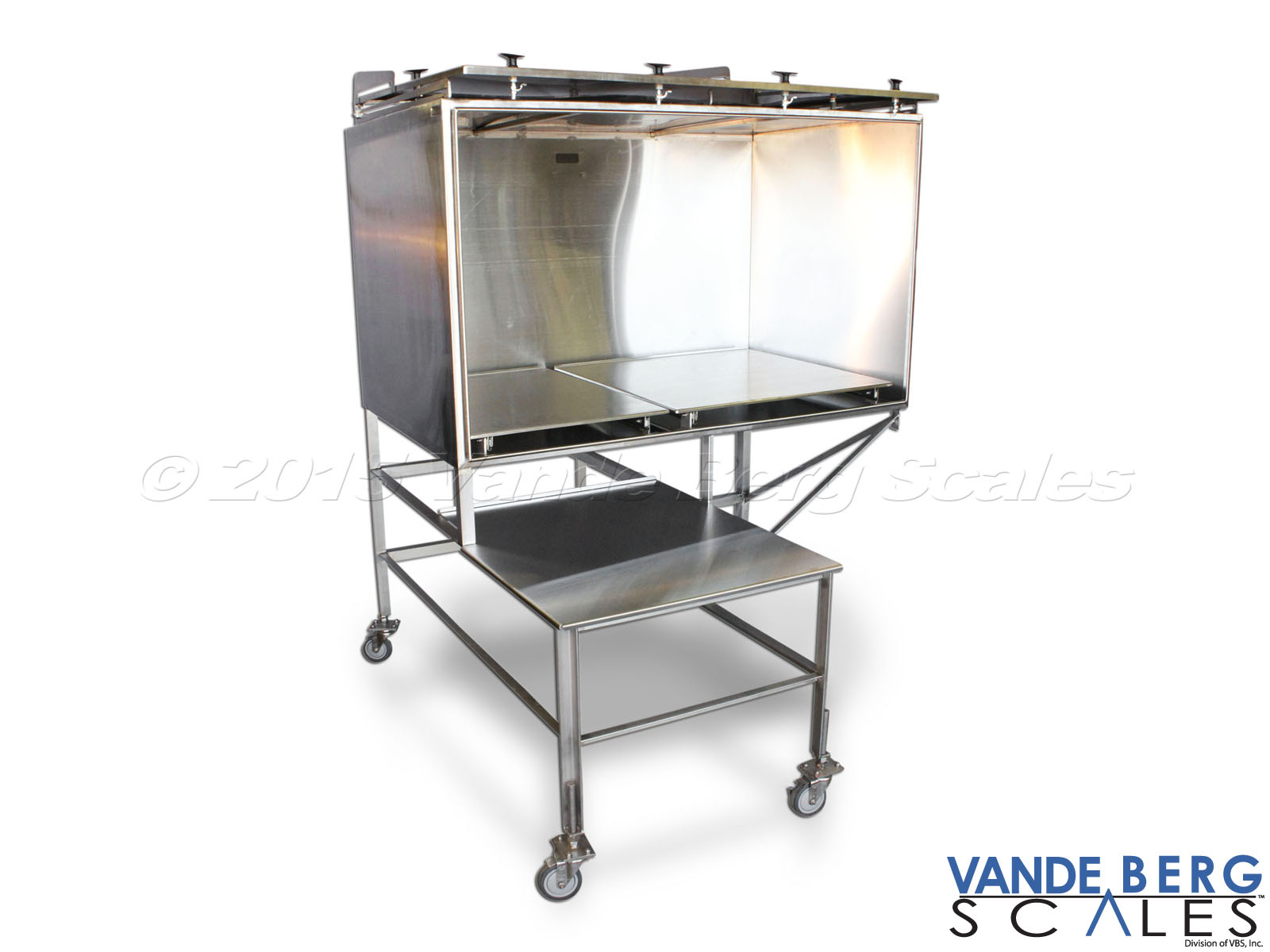 Large industrial stainless steel mobile cart with large enclosure, work platform and casters for easy mobility.