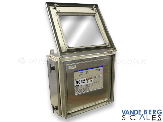 Stainless Steel touchscreen monitor enclosure allows nearly 270-deg swing door having a view window.