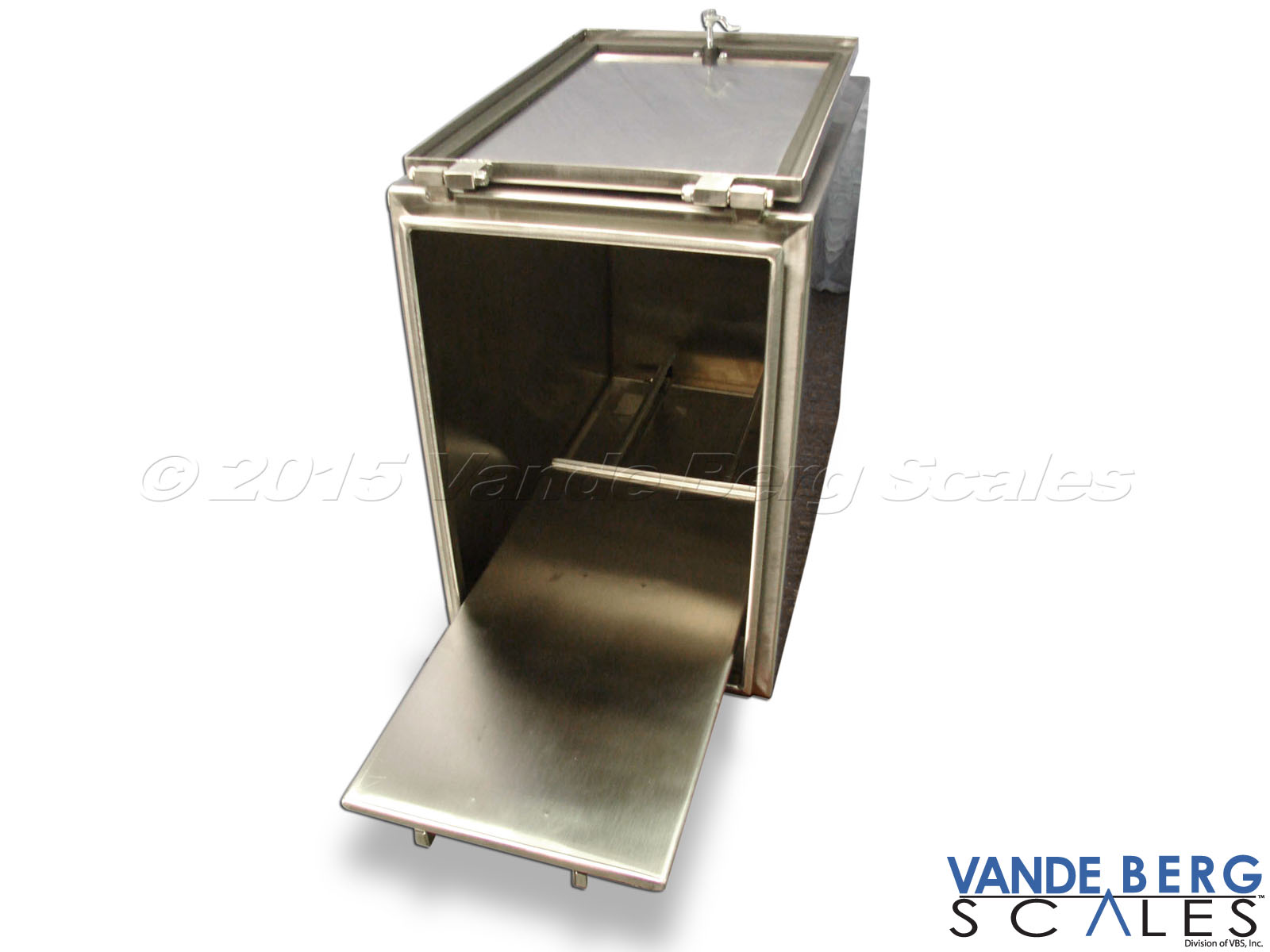 Stainless steel NEMA-4X printer enclosure with slide-out tray permits easy access to cables and label changeout