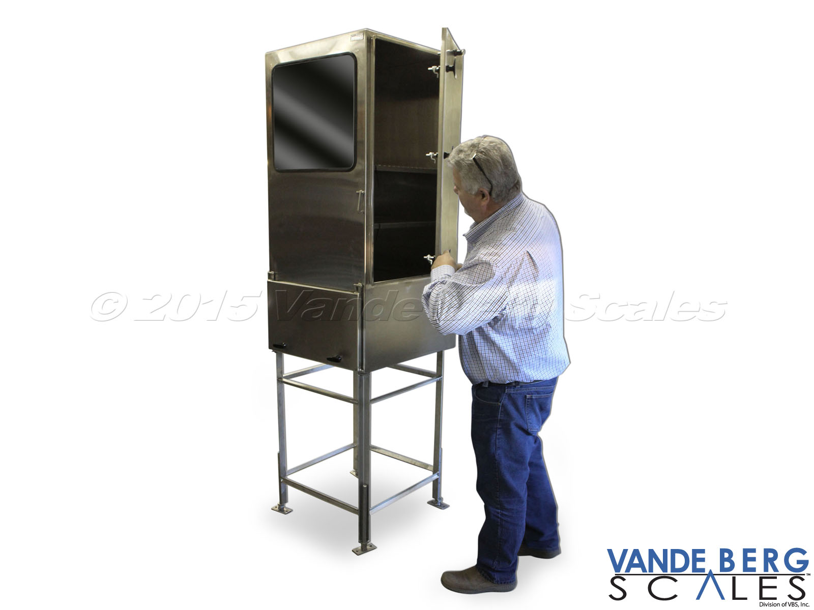 Tall stainless steel NEMA-4X enclosure and stand with side access panel and view window.