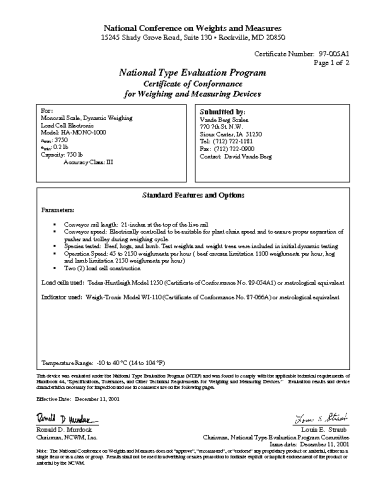 See our Dynamic Monorial NTEP Certificate
