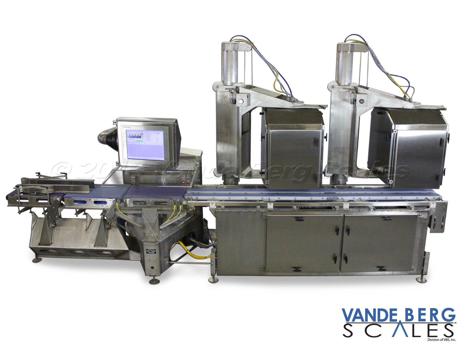 Washdown weigh price labeler with two top & two bottom printers.