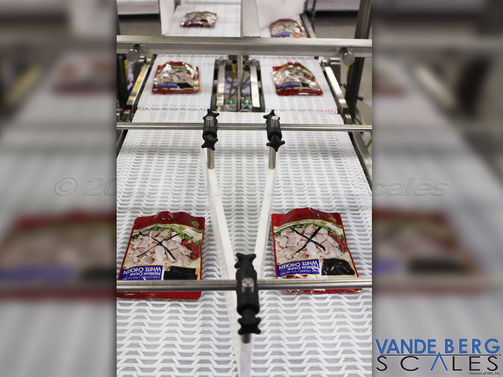 Product guides ensure products are centered properly on the belt for consistent/accurate weighment.