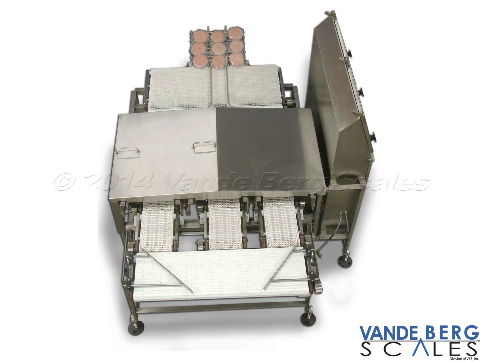 Top-down view of a 3-lane beef patty checkweigher with stainless steel draft shield.
