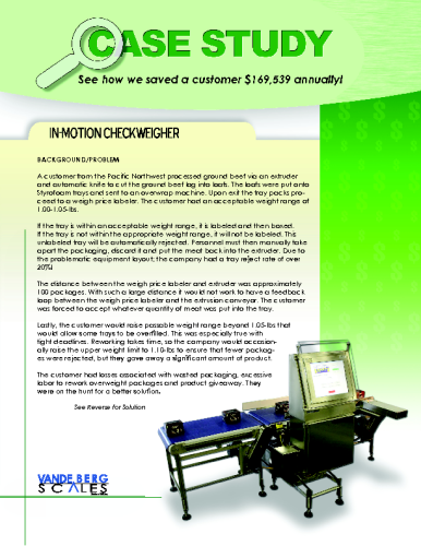 Checkweigher Case Study – $169,539 Payback