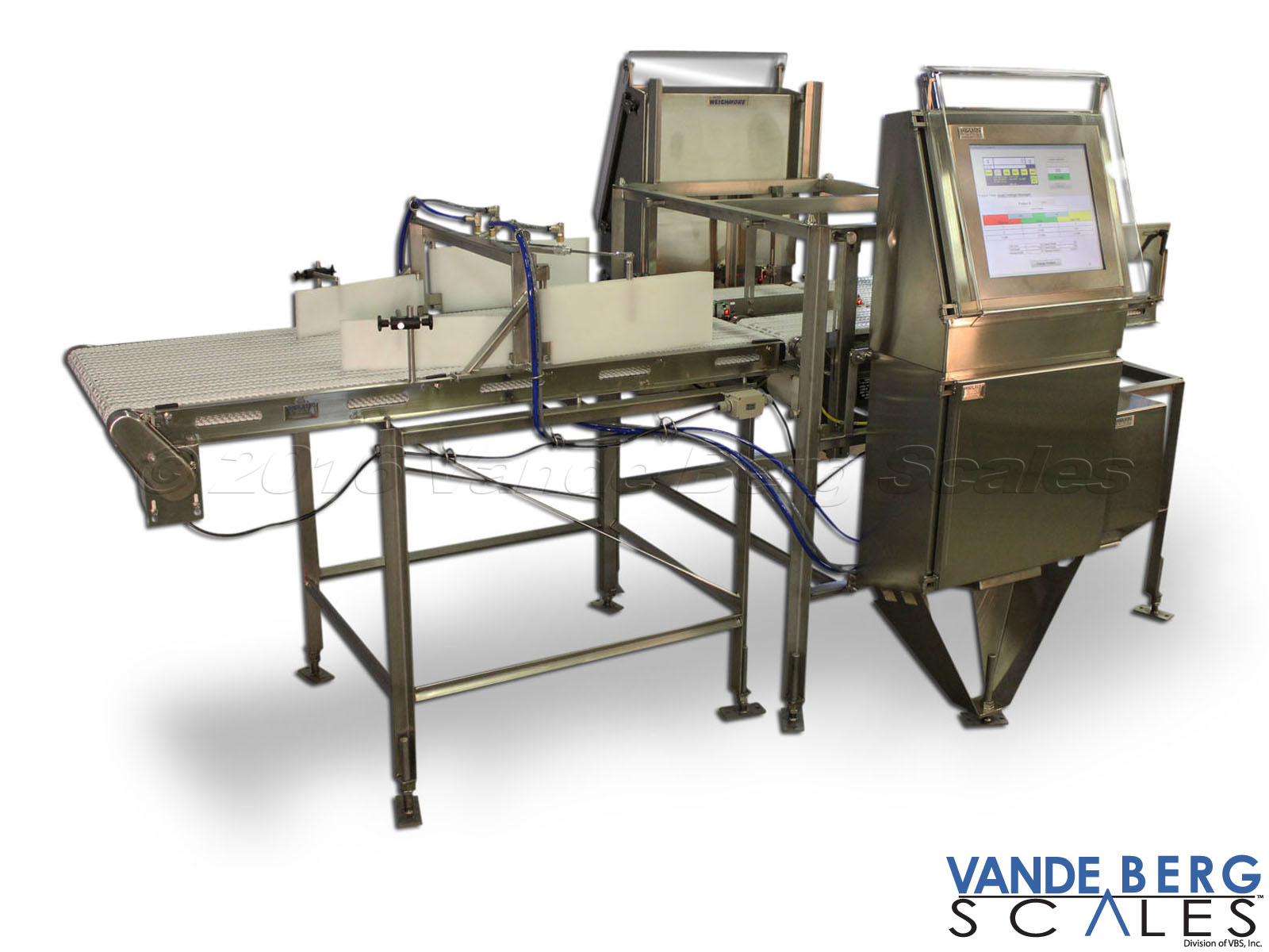 Dual-Lane chicken pouch checkweigher with 17-in touchscreen HMI