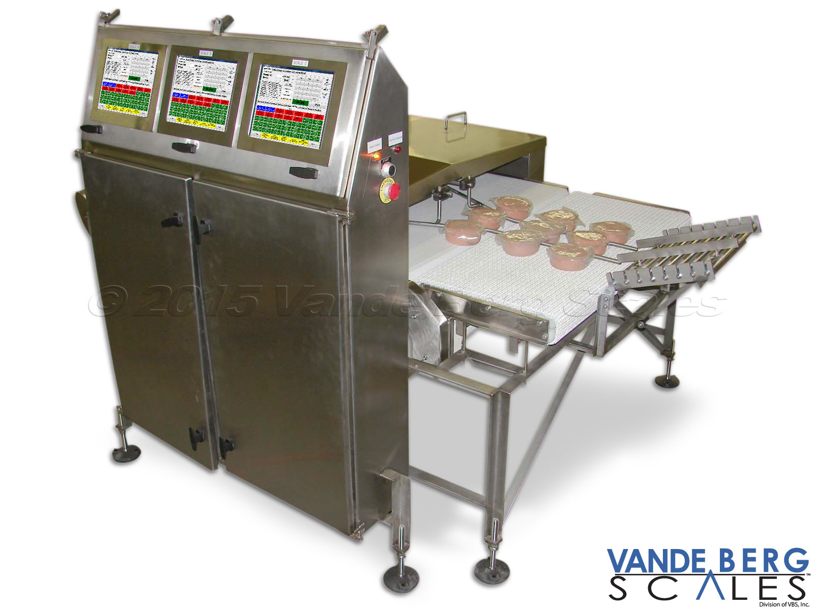 Three lane checkweigher with touchscreen HMI provides comprehensive data collection and reporting