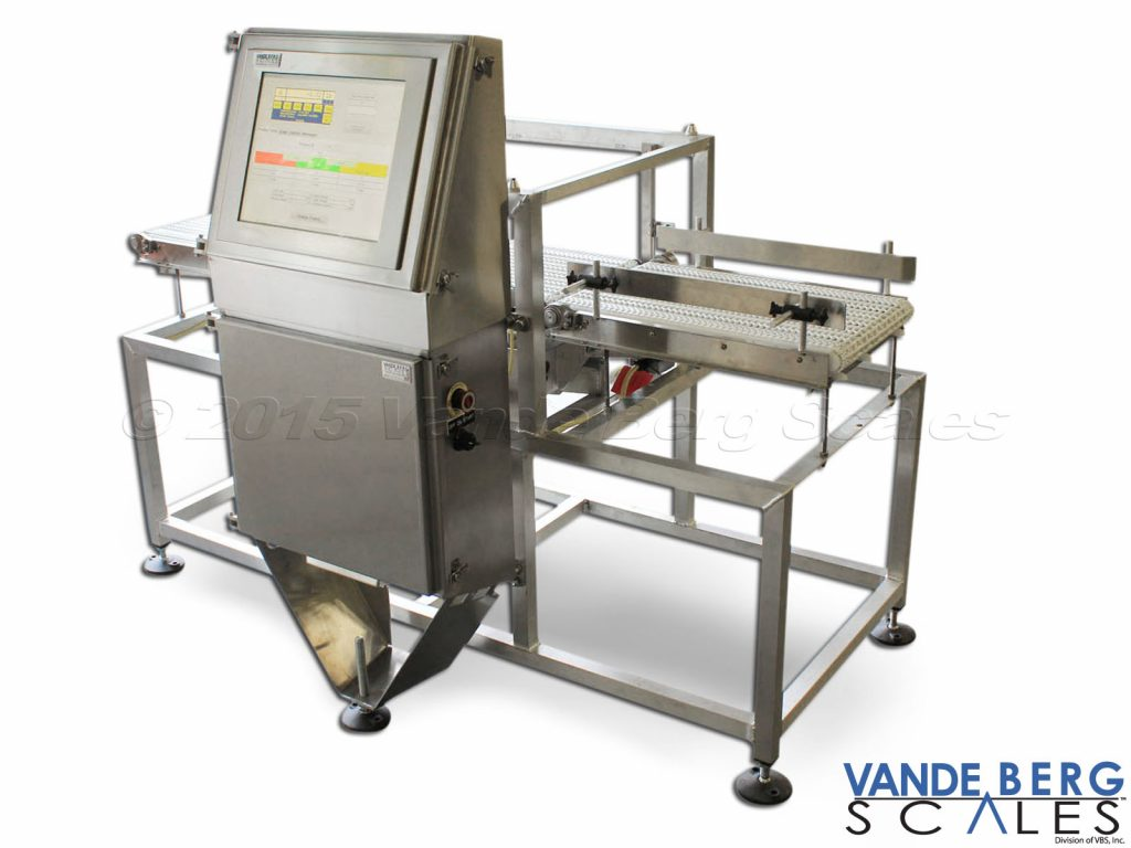 "Conveyor Scale with 17"" touchscreen, infeed conveyor, outfeed conveyor, guide rails and draft shield"
