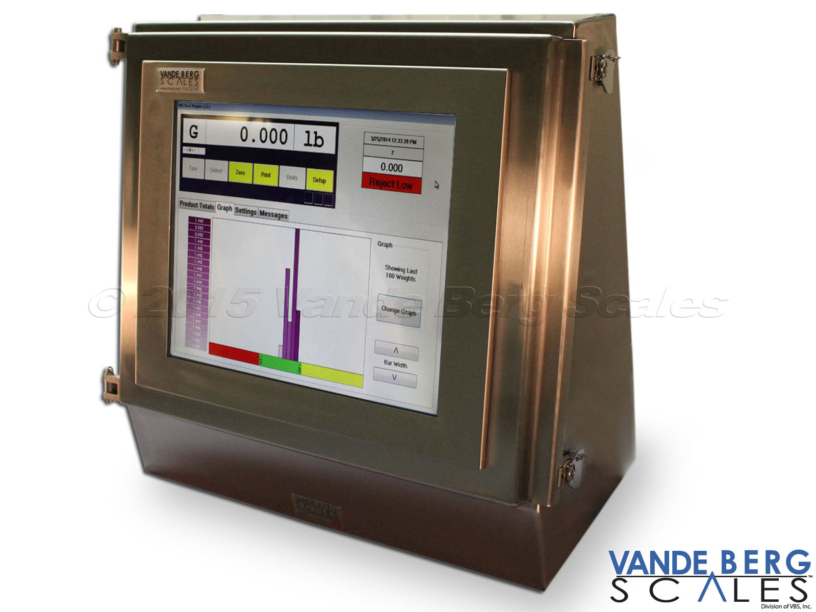 Industrial HMI touchscreen for checkweigher showing scale indicator and historical weighment ranges.