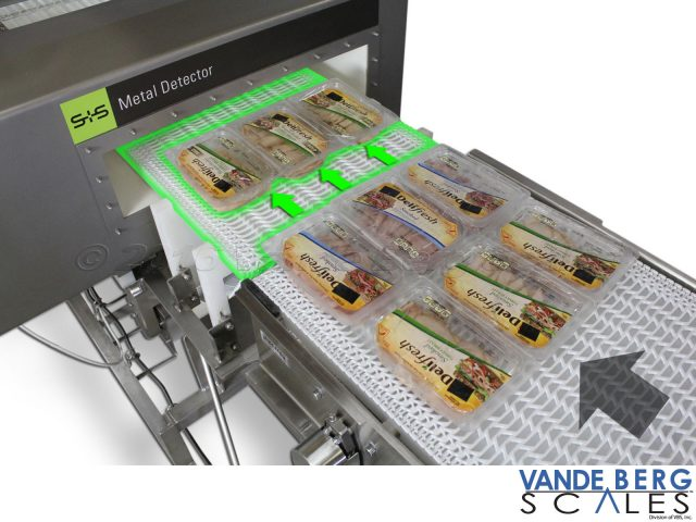 The metal detector belt also acts as a speed-up belt thereby creating the proper gap for each row of products ensuring adequate metal scanning.
