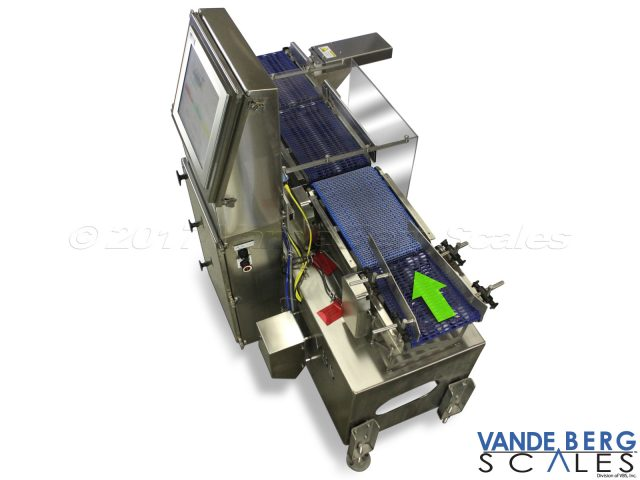 "Food grade inline checkweigher with pacing conveyor and 17"" touchscreen."