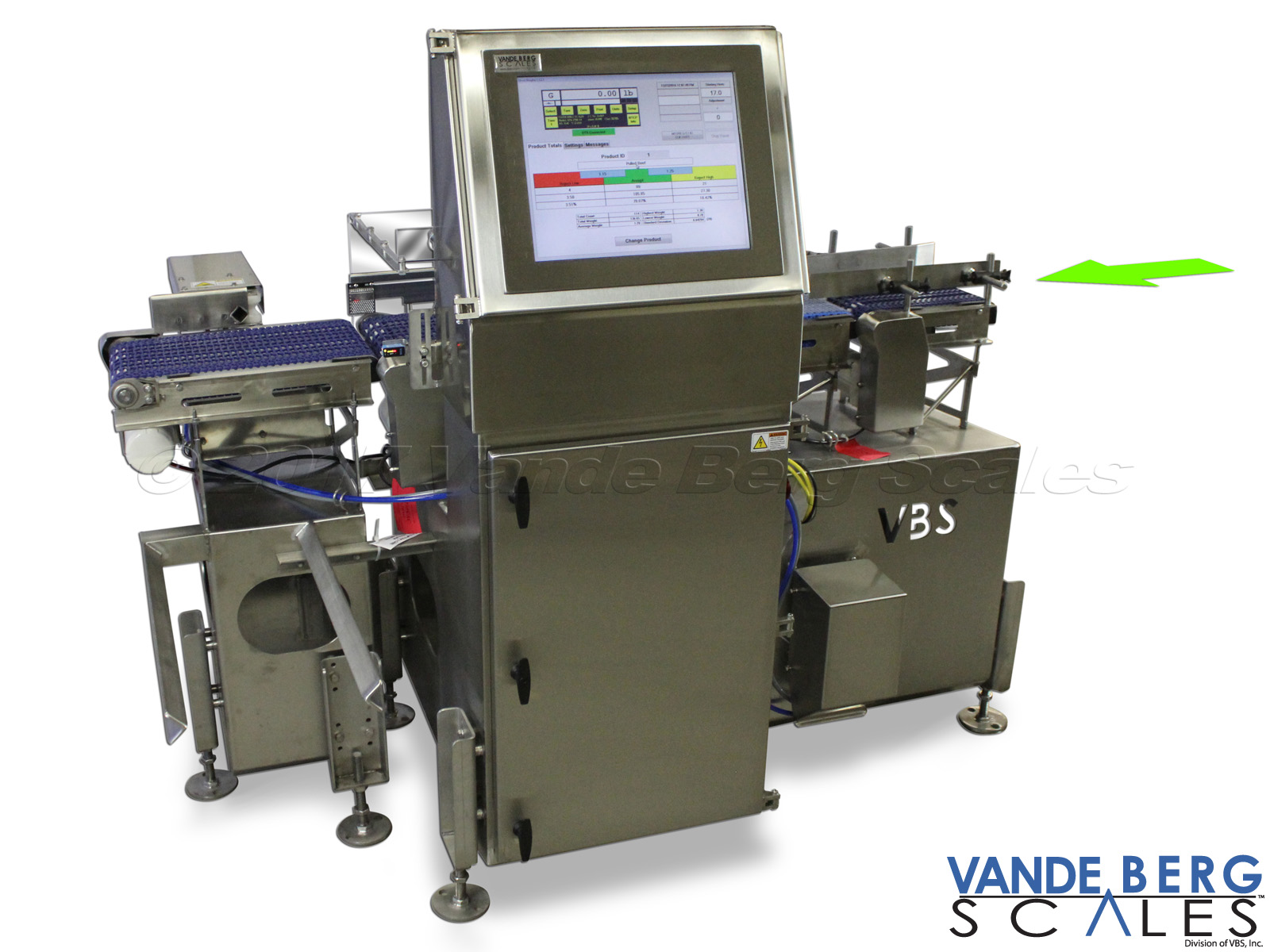 Heavy Duty 304 Stainless Steel Washdown Food Grade Dynamic Checkweigher with 17-in Touchscreen HMI.