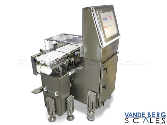 Heavy-duty industrial inline checkweigher with castors for mobility.