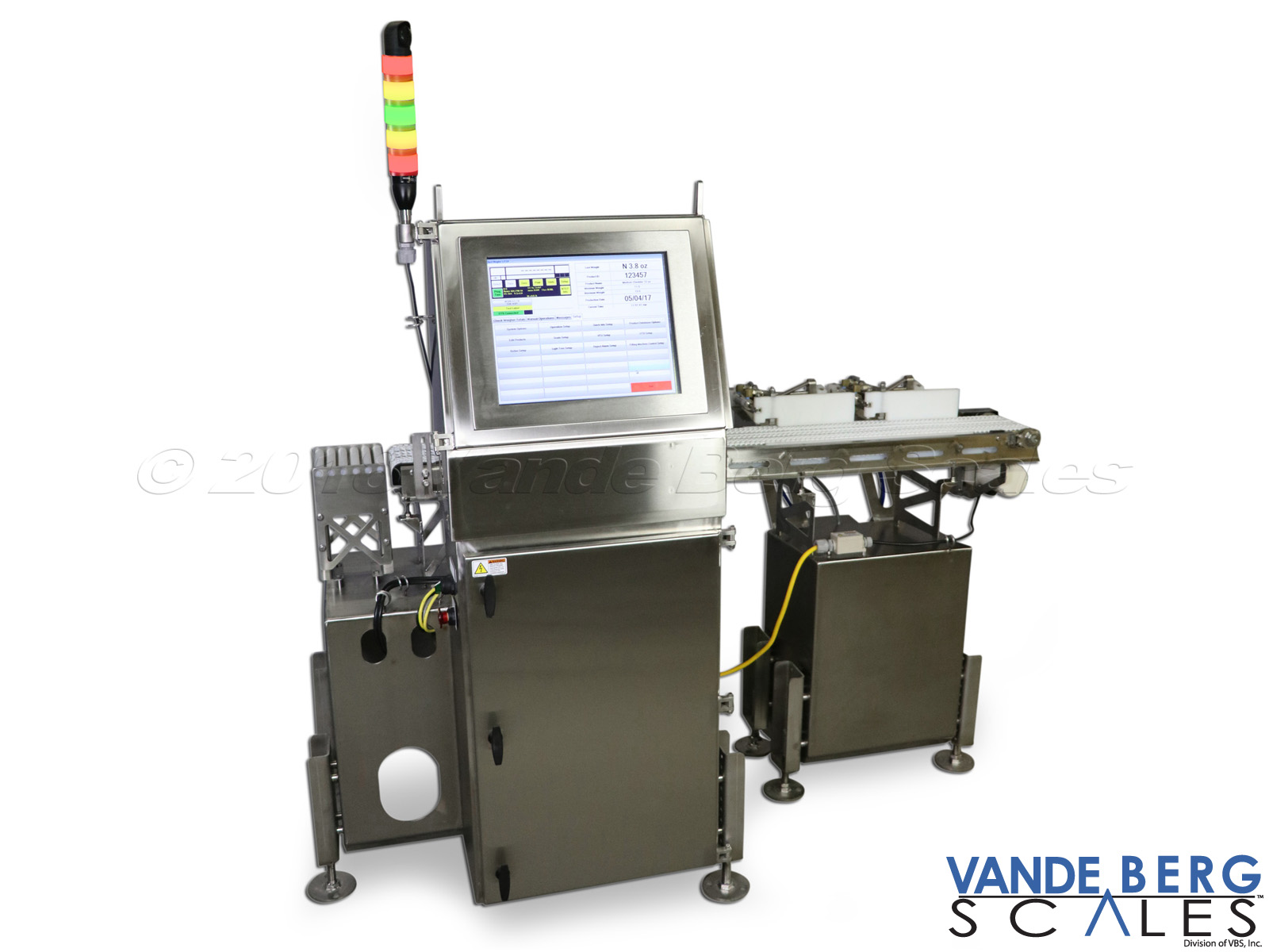 "Cheese checkweigher with 17"" SDS touchscreen and 2 diverts."
