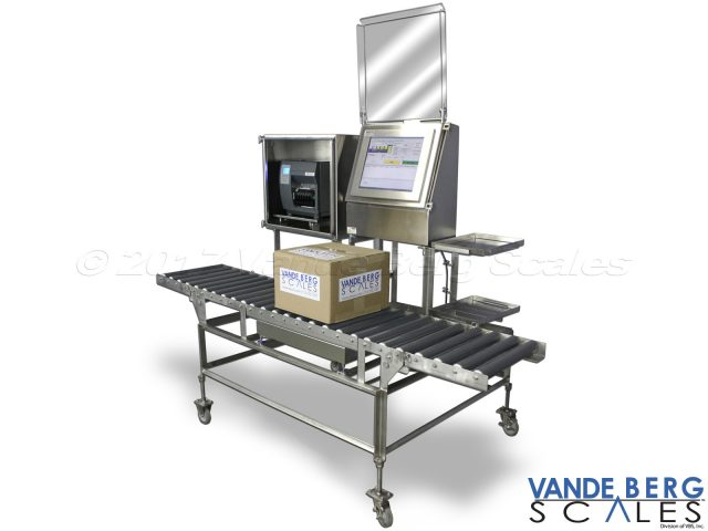 Manual Box labeling system with castors and fold-out roller conveyors for quick stow-away.