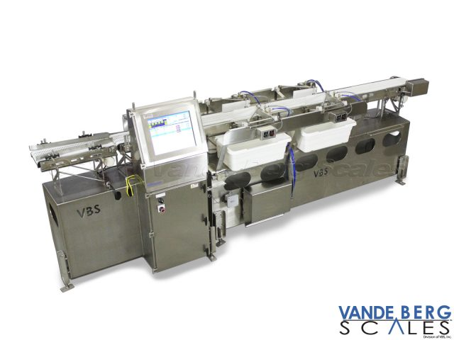 80 pc/min sliced pork-loin automated sortation system with pull out holding bins.