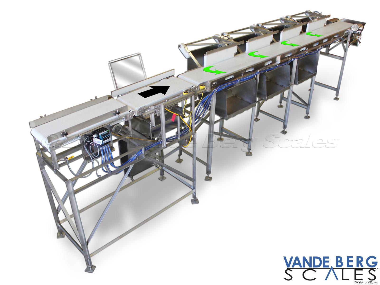 4-bin rib sortation system with pull-off diverts.
