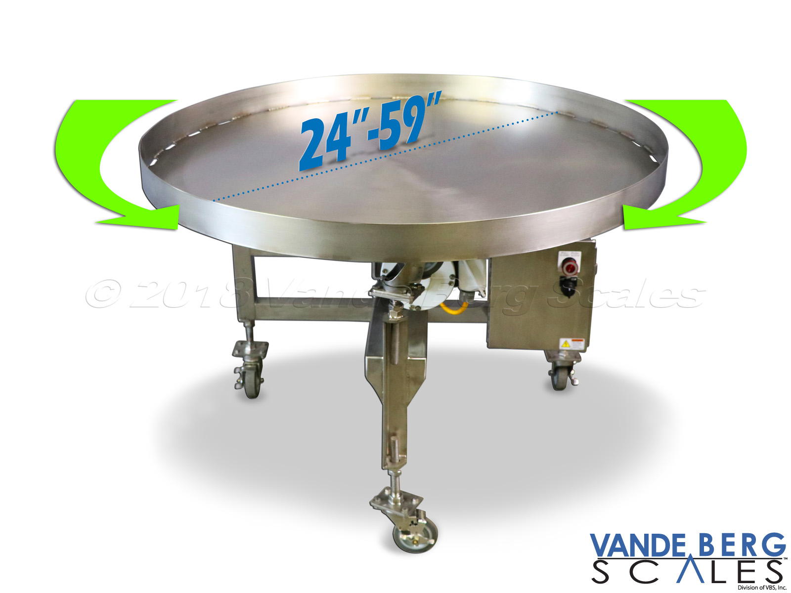 "48"" washdown SS rotary accumulation turntable.  Variable control allows speed adjustment based on personnel preference."